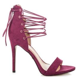 Ideal Shoes Wiązane sandałki na szpilce fioletowe