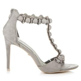Ideal Shoes Eleganckie sandały na obcasie szare