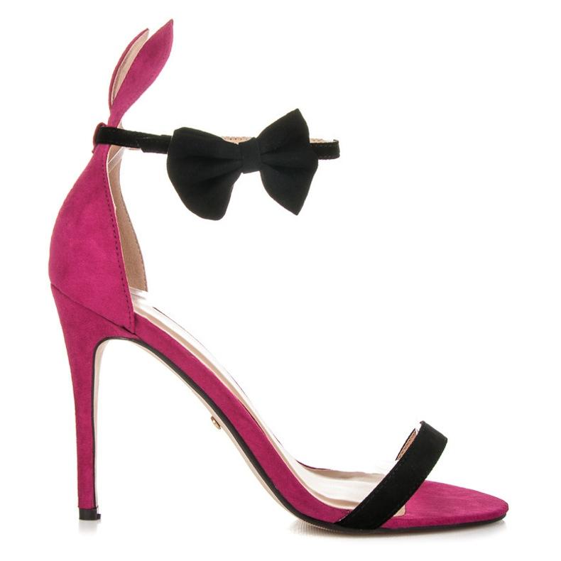 Marquiz Sandały z uszkami i kokardką różowe