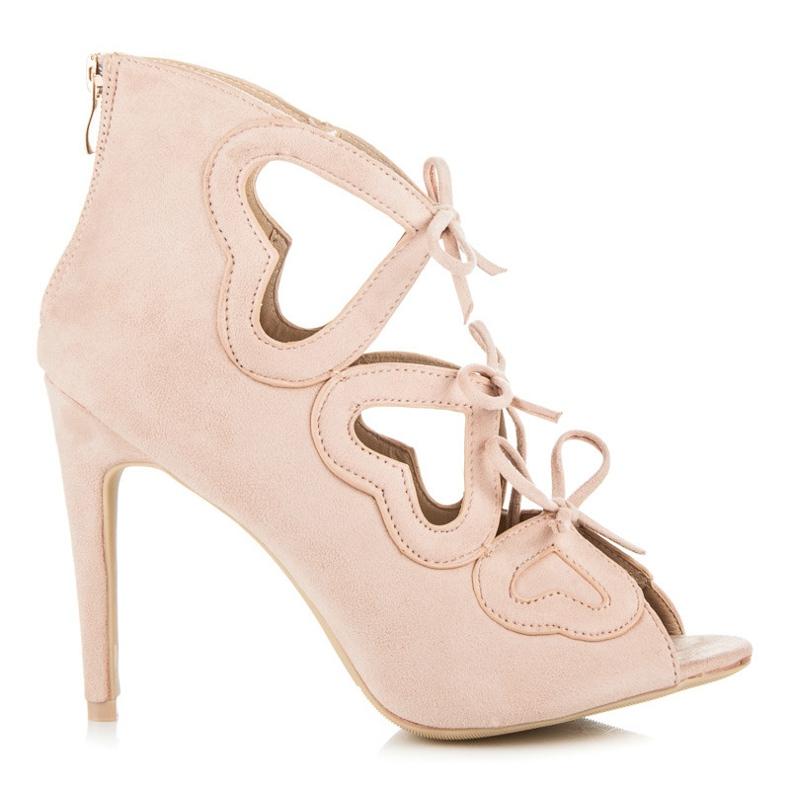 Vices Sznurowane sandałki damskie różowe