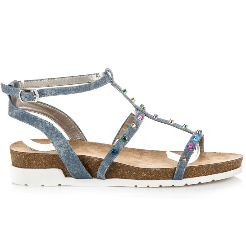 Sandałki Na Koturnie KYLIE niebieskie