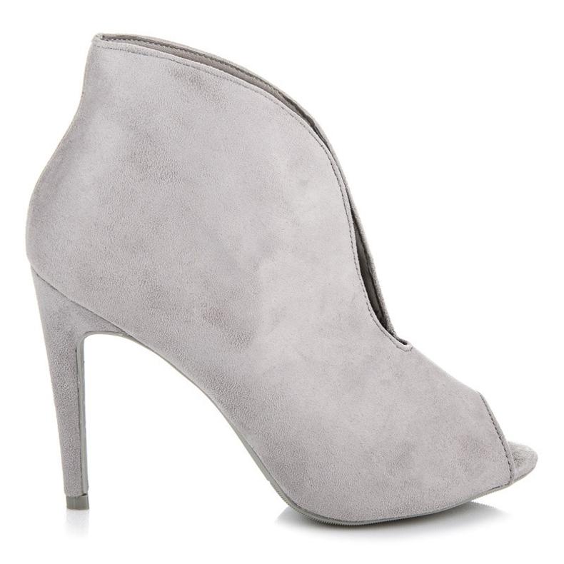 Vices Eleganckie botki open toe szare