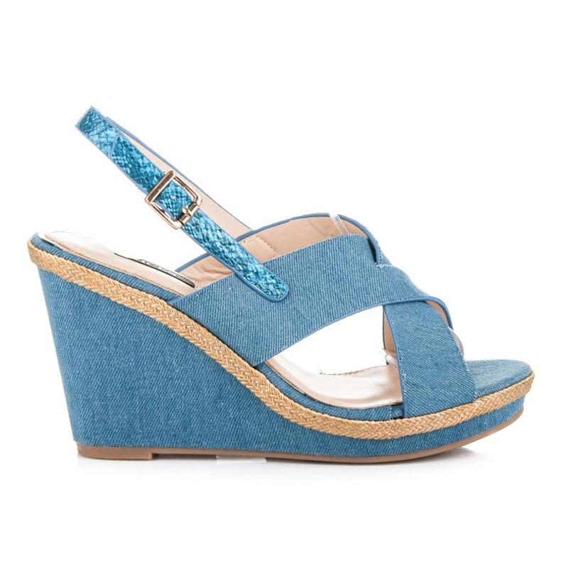 Vices Jeansowe sandałki zapinane na sprzączkę niebieskie