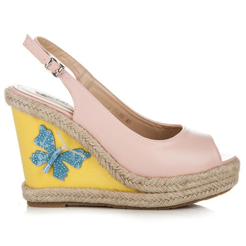 Vices Stylowe sandały z motylkiem różowe