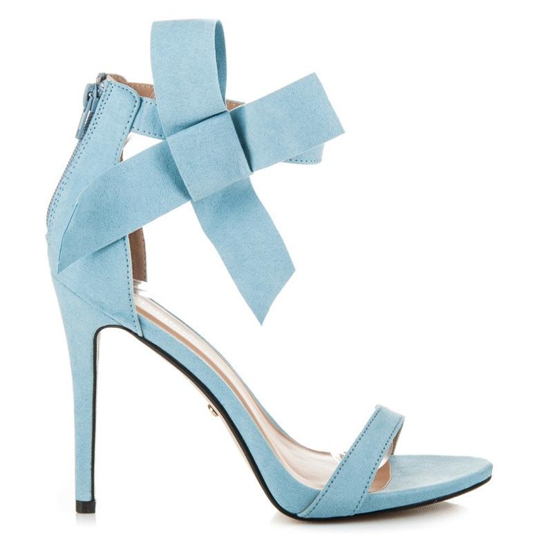 Ideal Shoes Sandałki zapinane na suwak niebieskie