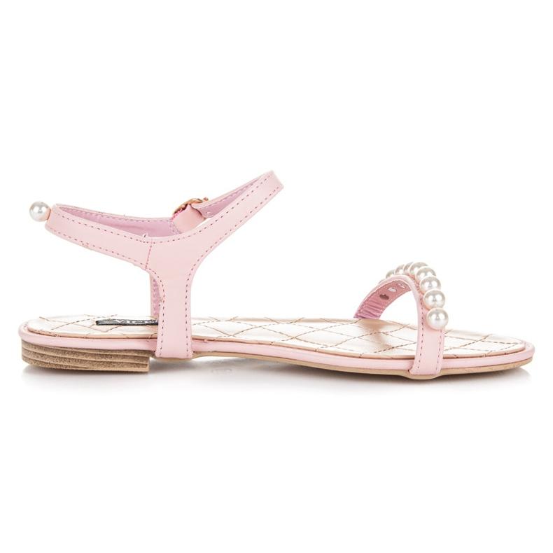 Vices Płaskie sandałki z koralikami różowe
