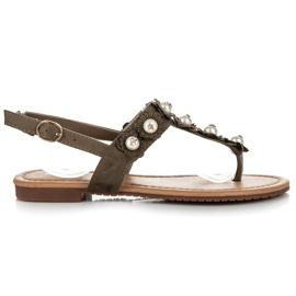 Ideal Shoes Japonki z kwiatuszkami zielone