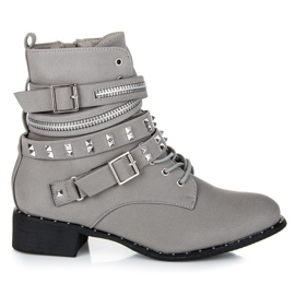 Vices New Collection Rockowe botki workery szare