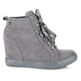 Vices New Collection Sneakersy Wiązane Wstążką szare