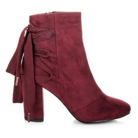 Vices New Collection Eleganckie botki z wiązaniem bordo czerwone