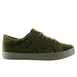 Zielone Aksamitne trampki BL70P Dark Green