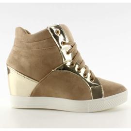Zamszowe sneakersy AT-0593-L Khaki