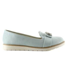 Niebieskie Pastelowe zamszowe mokasyny T245 Blue