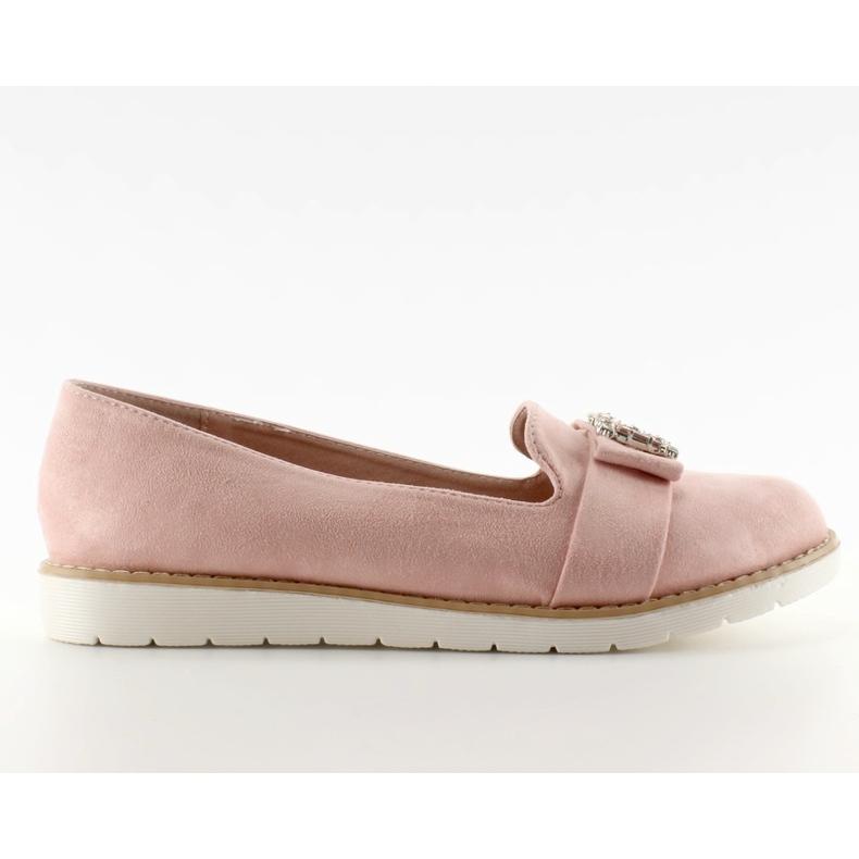 Pastelowe zamszowe mokasyny T245 Pink różowe