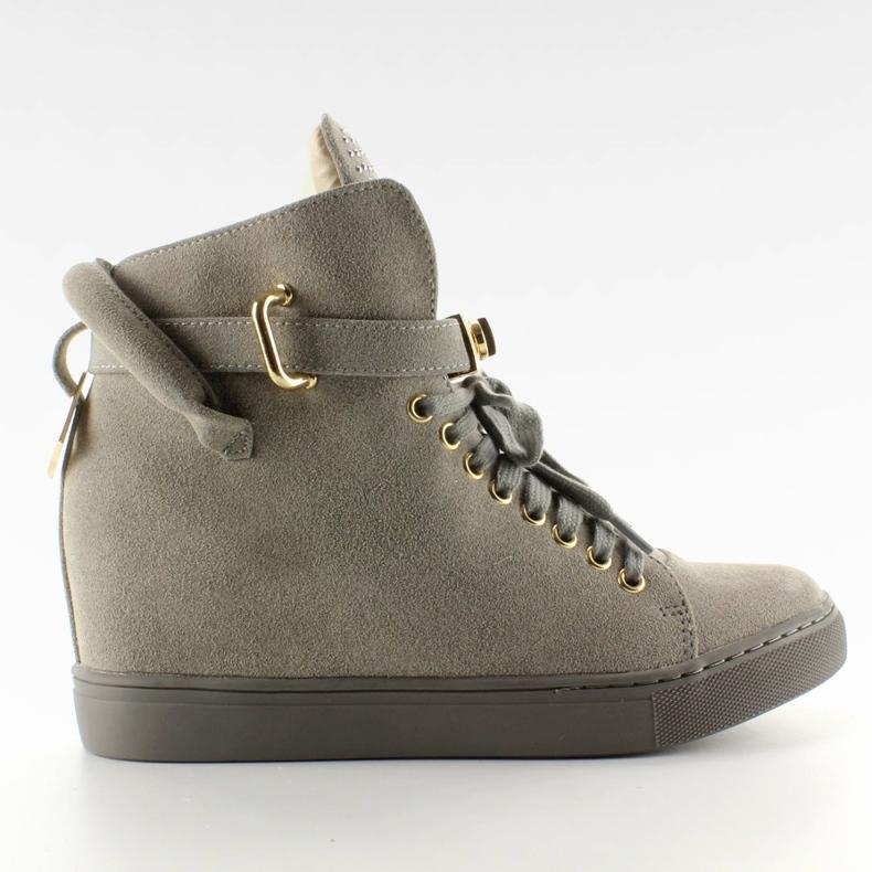Sneakersy z kłódką XW37012-3 Grey Suende szare
