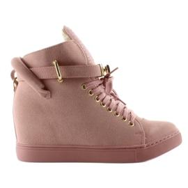 Sneakersy z kłódką XW37012-3 Pink Suende różowe