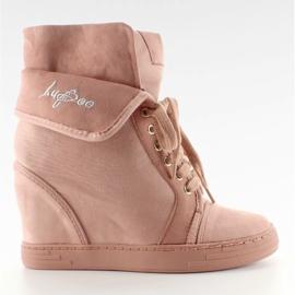 Sneakersy zamszowe B12-22 Pink różowe