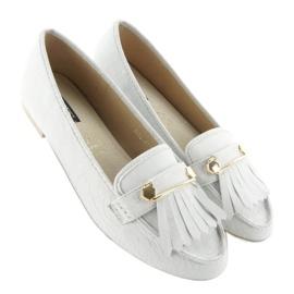 Białe Mokasyny w stylu vintage 3052 White