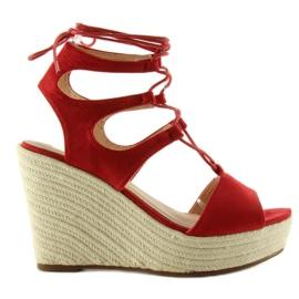 Sandałki espadryle wiązane SL71 red czerwone