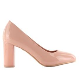 Różowe Lakierowane czółenka szeroki obcas m263p Pink