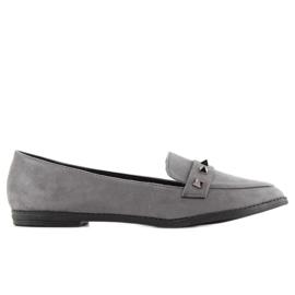Mokasyny damskie z ćwiekami 888-5 grey szare