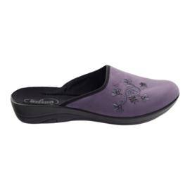 Befado obuwie damskie kapcie klapki 552D006 fioletowe wielokolorowe