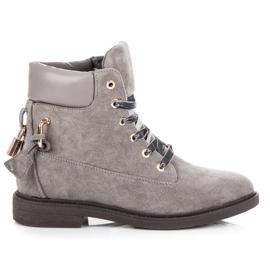 Ideal Shoes szare Zamszowe Workery Wiązane Wstążką