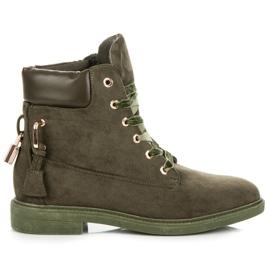 Ideal Shoes zielone Zamszowe Workery Wiązane Wstążką