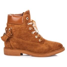 Ideal Shoes brązowe Zamszowe Workery Wiązane Wstążką