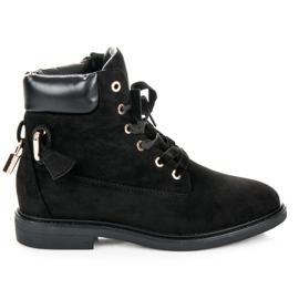 Ideal Shoes czarne Zamszowe Workery Wiązane Wstążką