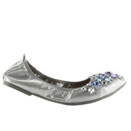 Baleriny z kamieniami srebrne C87 silver szare