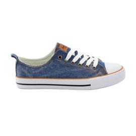 American Club Trampki dk.jeans wiązane niebieskie