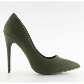 Czółenka na szpilce zamszowe zielone 5101 Green