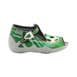 Zielone Befado obuwie dziecięce kapcie 217p093
