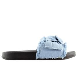 Klapki Jeansowe Niebieskie Hn55 L.Blue