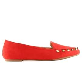 Mokasyny damskie z ćwiekami czerwone 1388 Red