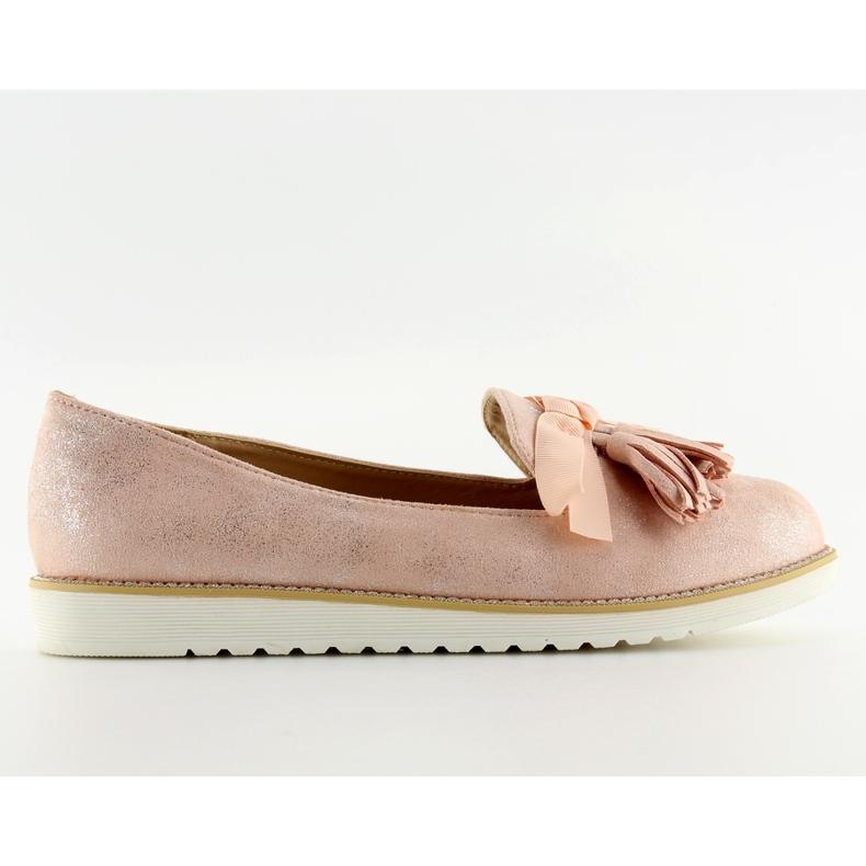 Mokasyny damskie z frędzelkami różowe 7214 Pink