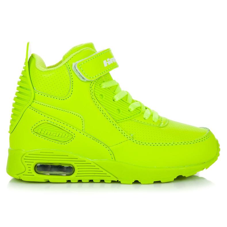 Hasby Neonowe Buty Nad Kostkę zielone
