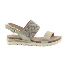 Żółte Caprice sandały buty damskie 28604