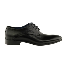 Czarne Półbuty pantofle do garnituru Badura 7589