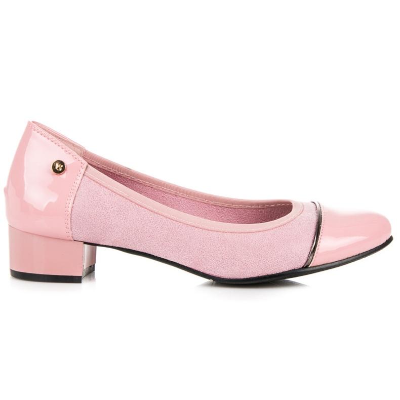 Vices Casualowe buty na niskim obcasie różowe