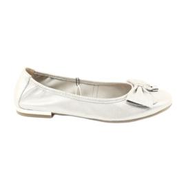 Szare Caprice balerinki buty damskie 22111 srebrne