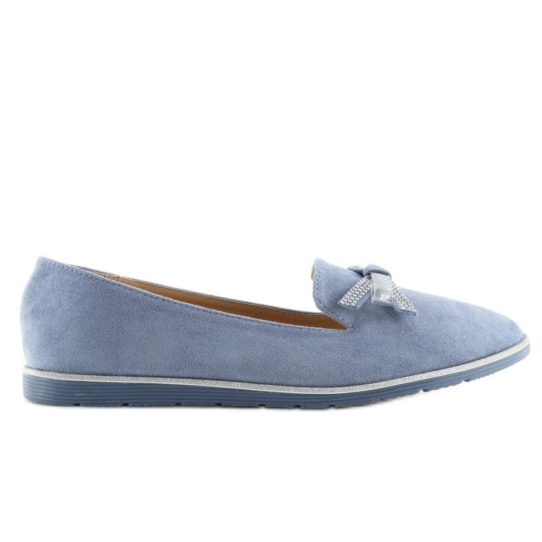 Mokasyny damskie niebieskie JN-182 blue