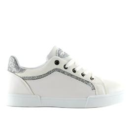 Trampki damskie biało-srebrne BM1972 WHITE/SILVER białe