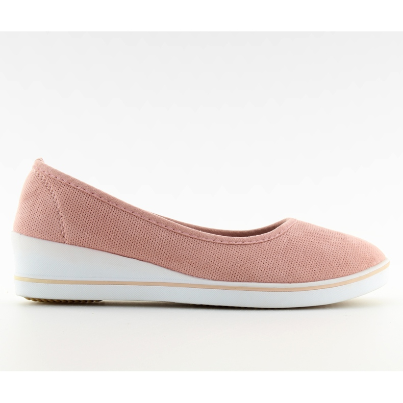 Baleriny na koturnie różowe D73 pink