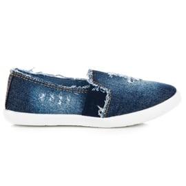 Bella Paris Jeansowe Trampki Slip On niebieskie