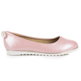 Vinceza Perłowe balerinki różowe
