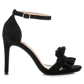 Kylie czarne Sandały Na Szpilce Z Falbanką