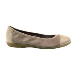 Brązowe Caprice buty damskie balerinki 22152 skóra