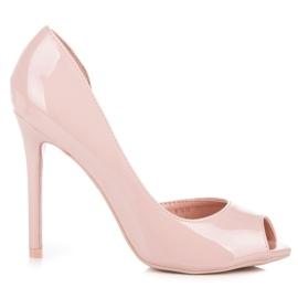 Seastar Lakierowane szpilki open toe różowe